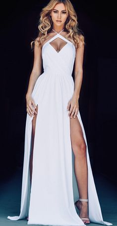 2016 Sexy Halter Neck White Prom Dresses Ruched Side Slits Open Back Evening Gowns
