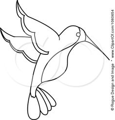 Image detail for -Art Illustration Of An Outlined Hummingbird By Rogue Design And Image