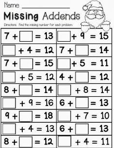 Christmas Math---Missing Addends Freebie--math freebie for first and second grade