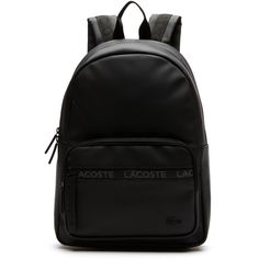 Men's L.12.12 Concept Lacoste Lettering Backpack (1.863.140 IDR) ❤ liked on Polyvore featuring men's fashion, men's bags, men's backpacks, bags bags, leather goods, mens backpack and mens leather backpack