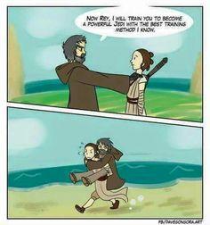 Luke and Rey, training