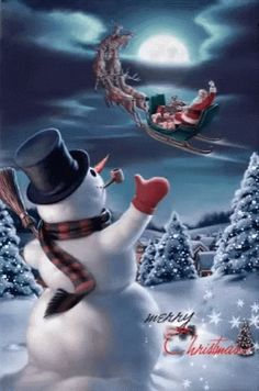 Snowman Wave GIF - Snowman Wave SnowDay - Discover & Share GIFs Christmas Scenes, Vintage Christmas Cards, Christmas Snowman, Winter Christmas, Christmas Holidays, Christmas Crafts, Christmas Decorations, Merry Christmas Gif, Animated Christmas Pictures