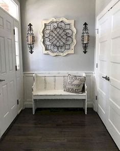 cool 48 Stunning Rustic Entryway Decor Ideas Entryway Decor Ideas Cool decor Decorating Entryway farmhouse Home ideas Rustic Stunning Rustic Entryway, Entryway Ideas, White Bench Entryway, Entryway Wall Decor, Hobby Lobby Wall Decor, Rustic Decor, Rustic Livingroom Ideas, Country Living Room Rustic, Iron Wall Decor