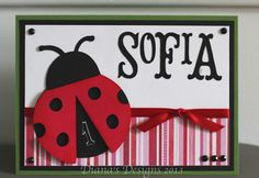 A personalized ladybug birthday card using Cricut Storybook and Cricut Doodlecharms.
