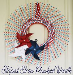 Red, White and Blue Striped Straw Pinwheel Wreath!