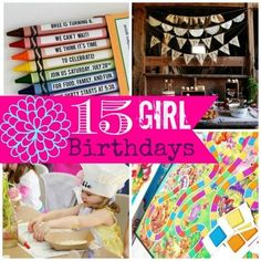 15 Fabulous Girl Birthday Ideas!! -  (These are great!) Just click on the picture > click on the arrow on the right side > scroll through the ideas > if you find one that you want more details on just click on the banner at the bottom with the name of the theme > takes you to the link on party theme ideas. Enjoy!