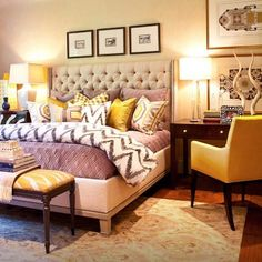 Yellow and Brown Bedroom. I've fallen in love with this bedroom. YES PLEASE!