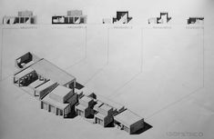 Axonometric & Sections Drawing. Can Lis. Mallorca. Jorn Utzøn. 2011. By architecture University of Navarra Student.