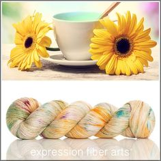 HAPPY HOUR YAK SILK LACE YARN by expression fiber arts - for knitting, crocheting, weaving - speckled, splashes of sunflower goodness