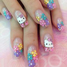hello kitty Hello Kitty Jewelry, Hello Kitty Nails, Chrome Nail Art, Kawaii Nails, Nails For Kids, Stiletto Nail Art, Red Nail Designs, Cat Nails, Rainbow Nails