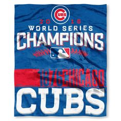 "Chicago Cubs 2016 World Series Champions 50"" x 60"" Silk Touch Blanket #ChicagoCubs #Cubs #FlyTheW #WorldSeries SportsWorldChicago.com"
