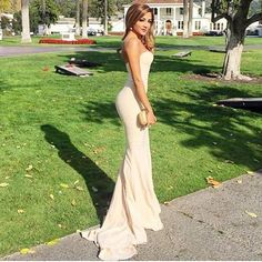 Long Champagne Satin Prom Dresses Mermaid Strapless Evening