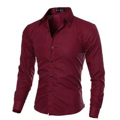 Men's Slim Fit Long Sleeve Dress Shirt