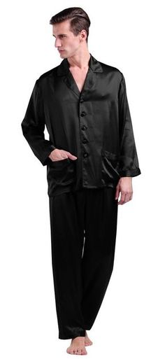 a261627c68 22 Momme Long Silk Pajamas Set For Men 100% Pure Silk Black By LilySilk -  XXL 44-46