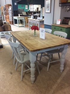 Pine table and chairs Pine Table And Chairs, Pine Dining Table, Dining Table Chairs, Dining Area, Painted Kitchen Tables, Kitchen Paint, Pine Kitchen, Kitchen Cupboards, Kitchen Family Rooms