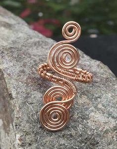 Spiral Copper ring jewellery,copper ring-adjustable, wire wrapped copper ring. £10.00