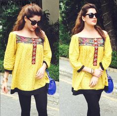 Off The Shoulder Fashion Trend in Pakistan - Worst Fashion Pakistani Fashion Casual, Pakistani Dress Design, Pakistani Dresses, Casual Wear, Casual Dresses, Casual Outfits, Fashion Dresses, Kurta Designs, Stitching Dresses