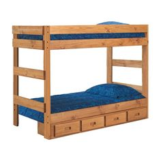 Have to have it. Chelsea Home Twin over Twin 1-Piece Bunk Bed - Ginger Stain - $458 @hayneedle