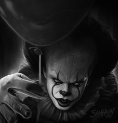 Pennywise black & white art