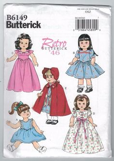 Items similar to Sewing Pattern 18 inch Doll Cape Pattern, 18 inch Doll Clothes Pattern, Retro 1946 Doll Clothes Pattern, Butterick Sewing Pattern 6149 on Etsy Doll Sewing Patterns, Doll Clothes Patterns, Vintage Sewing Patterns, Clothing Patterns, Sewing Dolls, Vogue Patterns, Fit And Flare, Patron Butterick, Girls Designer Dresses