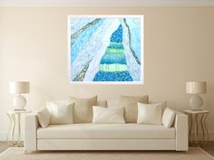 "Fine art print, blue white giclee print on canvas, Marilion Fine Art, ""WATERFALL…"