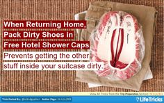 Trip Preparation - Pack Dirty Shoes in Free Hotel Shower Caps to Keep your Luggage Contents Clean