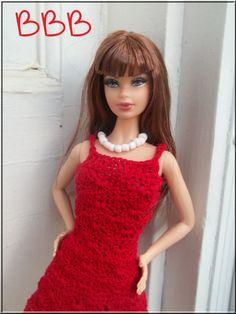 Barbie Clothes Crochet Red Spaghetti Strap by BarbieBoutiqueBasics