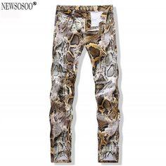 Newsosoo Snake 3D Printed Jeans Biker Pants Zipper Design Slim Pencil Pants Denim Night Club Casual High Quality jeans MJ19