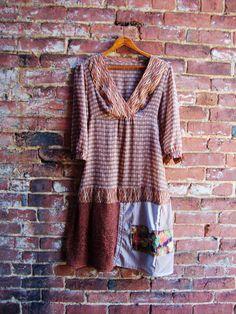 Tunic Style Boho Dress/Upcycled Dress/Asian by RebirthRecycling, $55.00