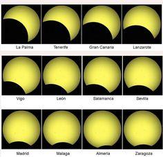 Así se verá el eclipse del próximo 21 de agosto en las distintas ciudades.