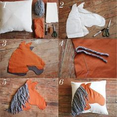Horse Throw Pillows How to horse pillow. This would be cute for a little boy's cowboy themed bedroom.How to horse pillow. This would be cute for a little boy's cowboy themed bedroom. Diy Pillows, Custom Pillows, Decorative Pillows, Throw Pillows, Pillow Ideas, Bolster Pillow, Cushion Pillow, Cushions, Horse Themed Bedrooms