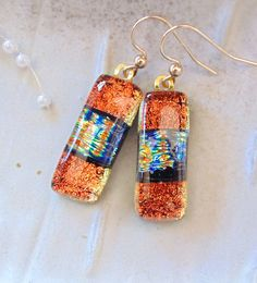 Dichroic Glass Earrings, Glass Jewelry, Dangle, Gold Filled, Orange, Gold