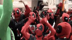 Deadpool Dance Party Takes Over New York Comic Con What happens when you get a bunch of Deadpool cosplayers in a room? A dance party, of course! Deadpool Cosplay, What Happens When You, New York, Fandoms, Geek, Marvel, Dance, Humor, Shit Happens