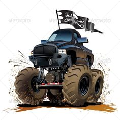 Cartoon Monster Truck #GraphicRiver Vector Cartoon Monster Truck. Available hi-res JPG, PNG with transparency, EPS-10, and AI-CS4 vector formats separated by groups and layers for easy edit Also you can check at my Collections: Vector Car