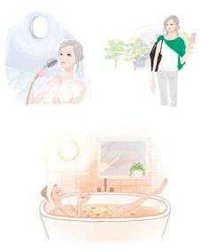 日経WOMAN 8月号 ミヤモトヨシコのガールズイラスト