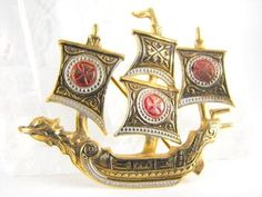Dragon Boat Brooch Damascene Style Signed Spain by hipcricket, $18.00