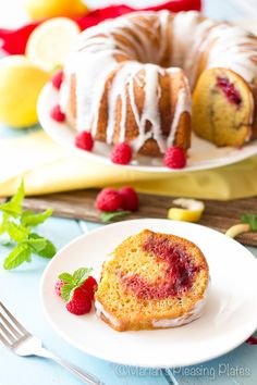 This Simple Lemon Raspberry Bundt Cake comes together with one bowl and just 5 minutes of prep time. Juicy raspberry swirls combined with tart and buttery lemon cake make for a perfect summer treat!