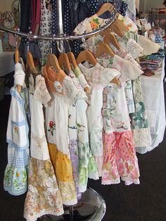 These girls' dresses have all vintage fabrics, and doilies for sleeves!!