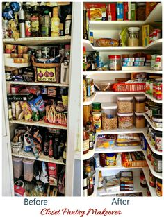 Before and after pictures This pantry closet makeover turns an overly stocked closet into a mini walk in pantry with a few easy steps. Kitchen Pantry Design, Kitchen Storage, Small Kitchen Pantry, Kitchen Sink, Kitchen Ideas, Kitchen Cabinets, Tiny Pantry, Small Pantry Closet, Small Pantry Organization