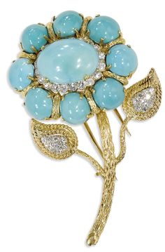 Turquoise, Diamond, Gold Flower Clip-Brooch. The brooch,