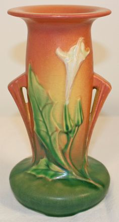 Roseville Pottery Thornapple Pink Vase 815-7 from Just Art Pottery