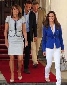 Pippa Middleton wearing ZARA tailored blue blazer. browse Board or Pins for more.