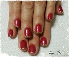 Vermelho com francesinha dourada