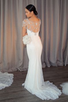 One of 23 Wedding Dresses That Are Even Prettier from the Back  - ELLE.com - BADGLEY MISCHKA (=)