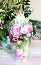 RARE~Antique~Limoges France~T & V~Hand painted Porcelain vase~Gorgeous pink roses and leaves~All on a background pale blue~To white~To a pale light green