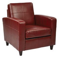 Office Star Ave Six Venus Club Chair in Environmentally Friendly Crimson Red Bonded Leather & Solid Wood Legs [VNS51A-CBD]