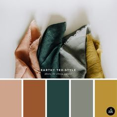 an earthy-textile-inspired color palette — Creative brands for creative people // Akula Kreative an earthy-textile-inspired color palette // coral clay, terra cotta, spruce green, gray, mustard yellow // photo by elissa robinson Earthy Color Palette, Colour Pallette, Color Combos, Gray Color Schemes, Paint Combinations, Green Colour Palette, Interior Colour Schemes, Vintage Color Schemes, Spring Color Palette