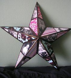 collage de photos en forme d'étoile décorative, idée géniale de cadeau a faire soi meme