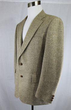 Vintage 1960's Brown Herringbone Patterned Fitted Sports Coat, Men's Wool 2 Leather Button Suit Jacket Designed Stanley Blacker  42