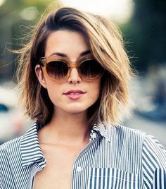 The best short haircuts for thick hair like this lob.